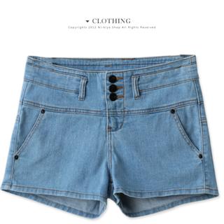 韓製---高腰顯瘦排釦單寧短褲-(淺藍M)