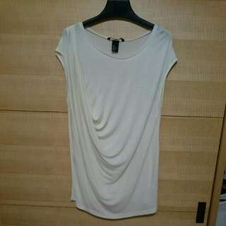 [全新] H&M 米白色垂綴小包袖背心