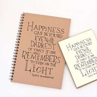 """""""Happiness Can Be Found Even In The Darkest Of Times If One Only Remembers To Turn On The Light"""" Albus Dumbledore Quote Harry Potter Notebook"""