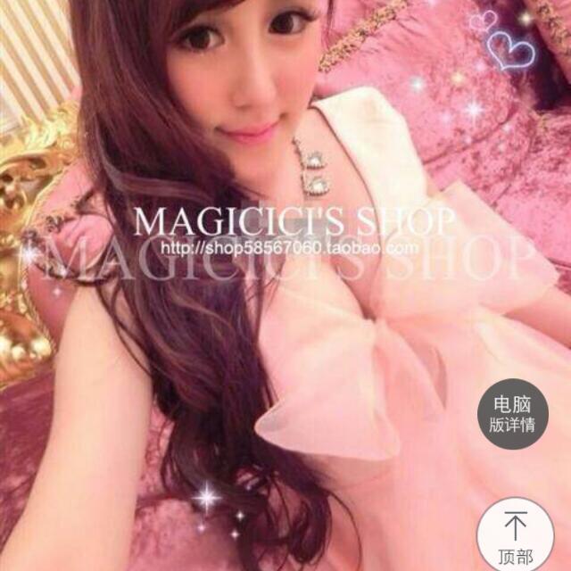 蝴蝶結粉色小洋裝