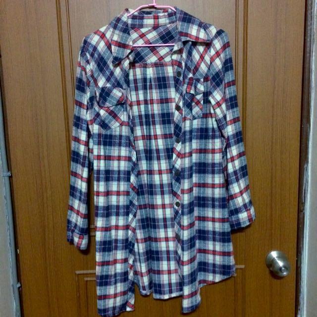 🎏長版格子襯衫
