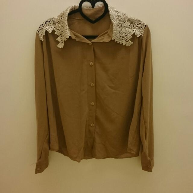 【二手】棕色雪紡蕾絲領襯衫