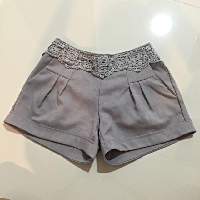 Crochet Lace Heather Grey Shorts