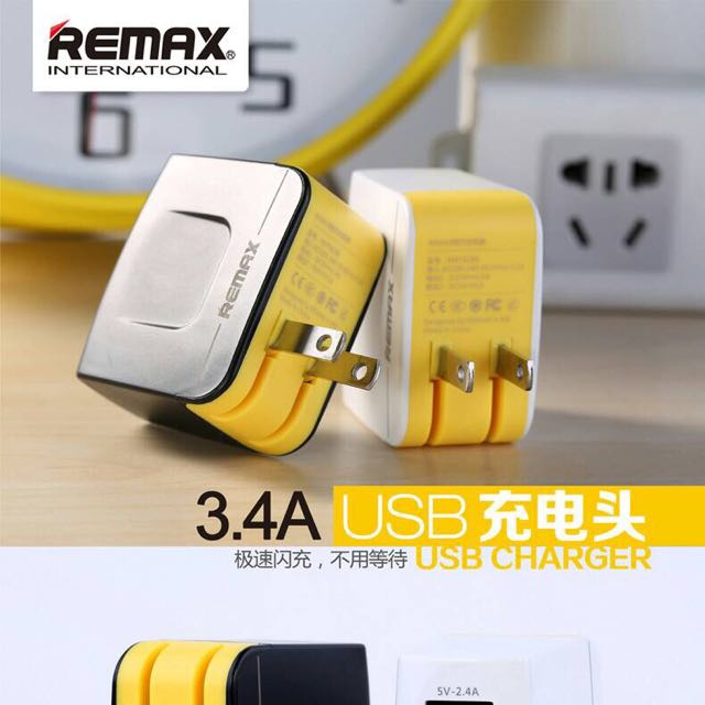 REMAX USB充電器/雙孔充/3.4A極速/全新品
