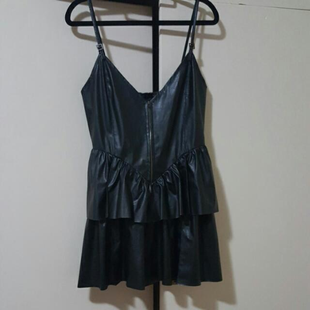 Size 8-10 Black Leather Layered Dress With Zip Front
