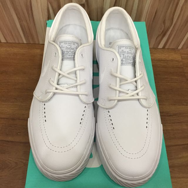 12ee0c4316f7 US 8.5 Nike SB Zoom Stefan Janoski Leather All White Skate Shoe ...