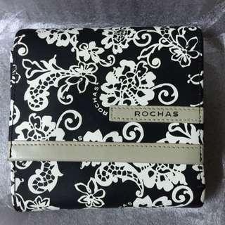Rochas三折黑白花皮夾