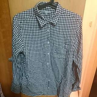 Uniqlo黑白格紋法蘭絨襯衫L(售出)