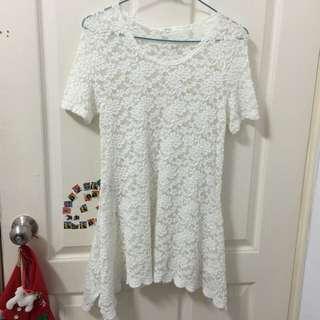全新 韓貨 白色全鏤空傘擺氣質洋裝