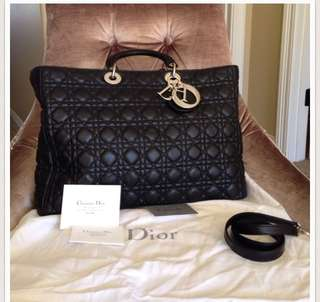 Dior Lady Dior Extra Large Shopping Lambskin Bag