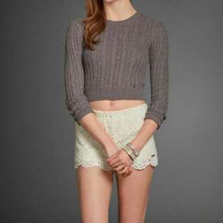Abercrombie & Fitch Leane Cropped Sweater In Grey and Cream Colour