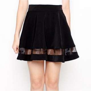 Wardrobemess Mesh Insert Skirt (Black)