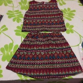 Tribal Prints Top And Skirt Set