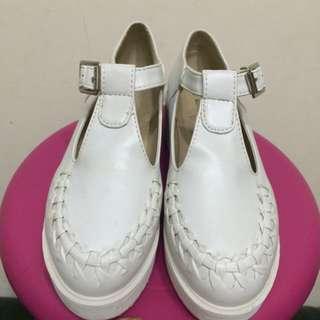 厚底 白 瑪麗鞋