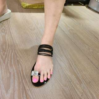 韓國質感線條兩穿拖鞋黑色