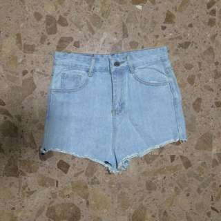 Tumblr faded denim High Waist Shorts