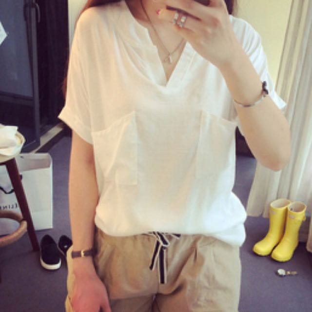 白短袖棉麻上衣