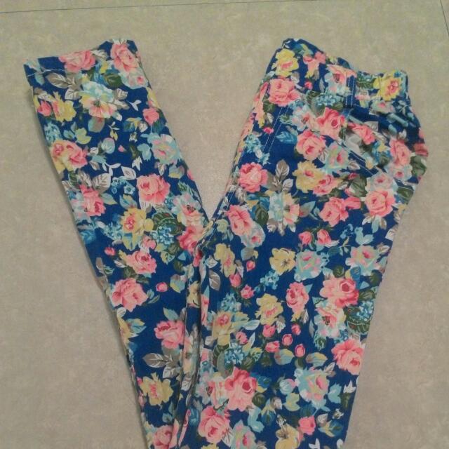 全長窄管褲 碎花藍