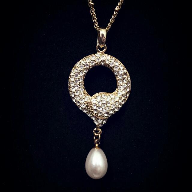 <全新>氣質款 珍珠鑽石長項鍊
