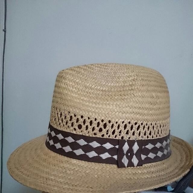 ◇私物二手出清◇夏日海灘出遊必備-硬質草編帽- 菱紋不褪流行
