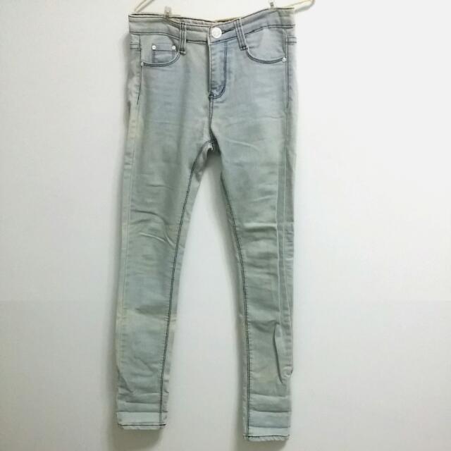 韓店購入 超瘦立體車線水藍牛仔煙管褲