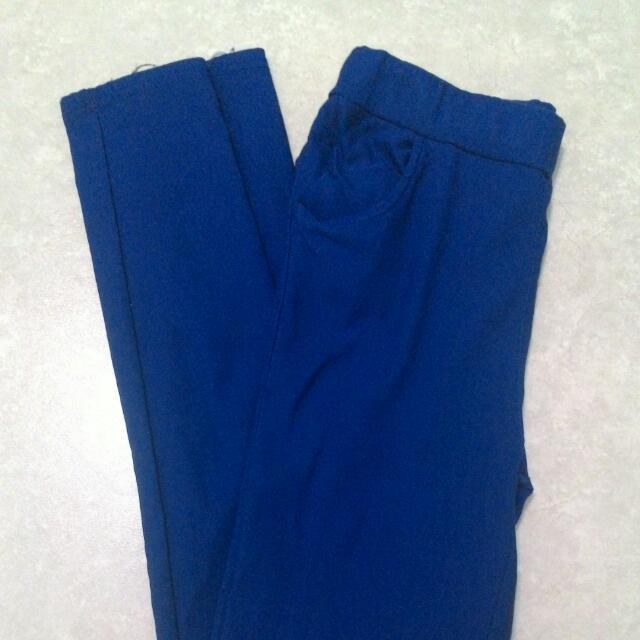 全長窄管褲 深藍