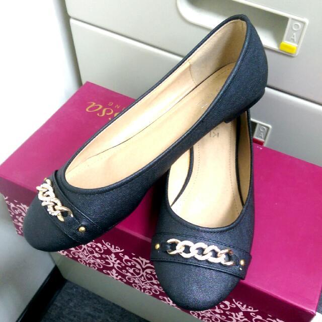 (全新) 韓國 黑色 平底娃娃鞋 39號