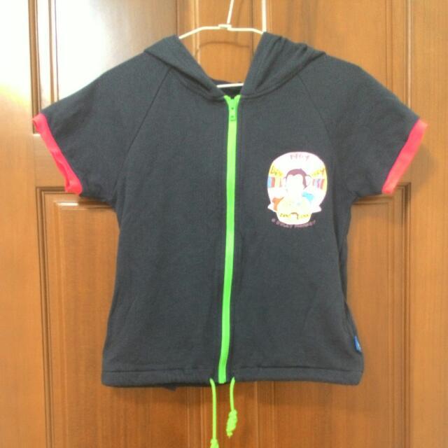 馬桶洋行猴子 短袖拉鍊短t外套