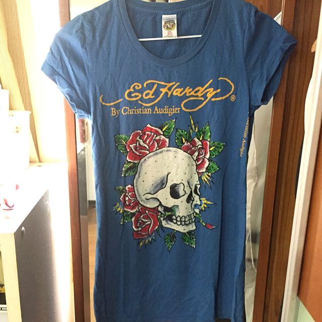 美國 Ed Hardy 經典 水鑽 T Shirt