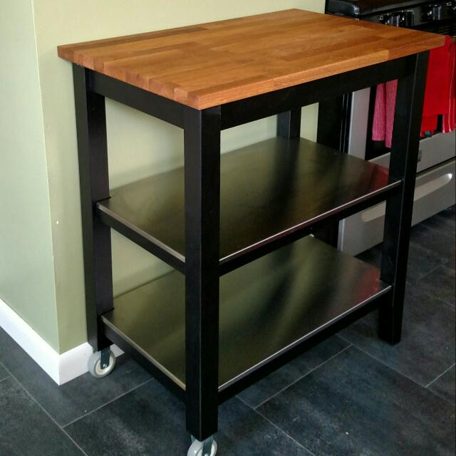 IKEA Butcher Block Kitchen Cart (Stenstorp), Furniture on Carousell