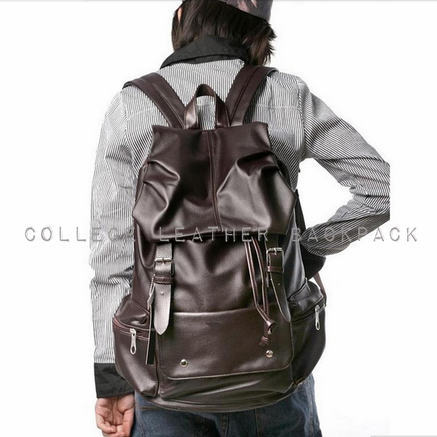 Unisex College Leather Backpack