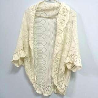 A1手織感毛線雕花罩衫