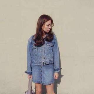 韓國 鈕扣牛仔短裙S 全新