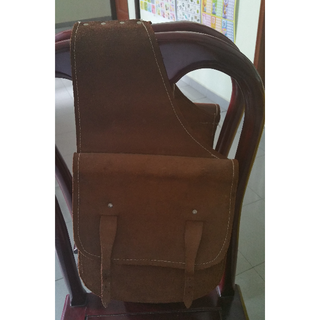 BROWN WESTERN TRAIL HORSE NATURAL LEATHER SADDLE BAG OR MOTORCYCLE SADDLE BAGS