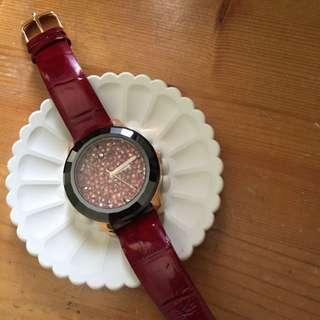 香港Melissa寶石水晶錶 酒紅