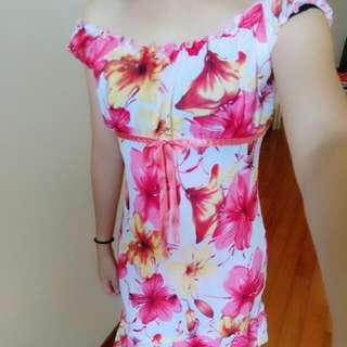 花邊無袖長洋裝