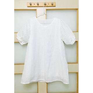 純白格子短版洋裝