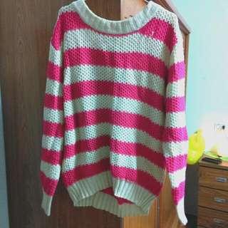 出售 粉色粗針織毛衣