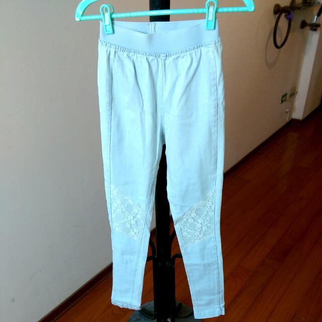 水藍色彈性伸縮長褲