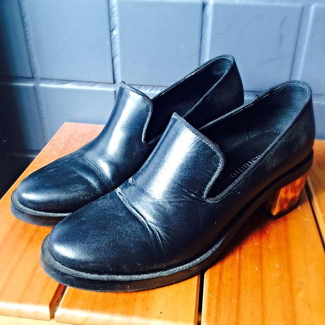 韓-真皮玳瑁鞋跟樂福鞋 38