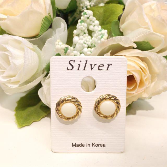韓國🇰🇷 氣質金邊珍珠耳環