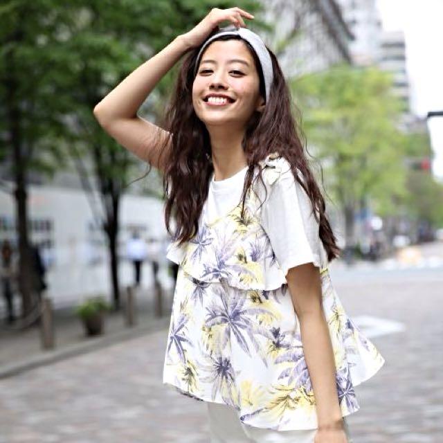 Heather荷葉領熱帶花草綁帶無袖上衣