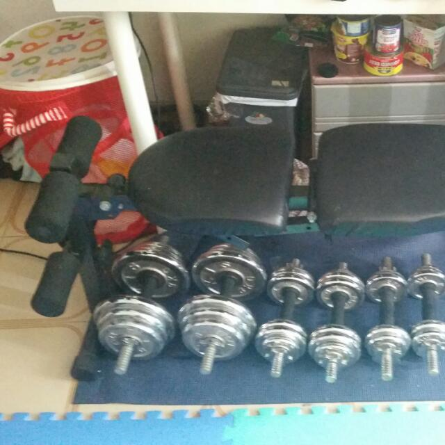 Workout Set, Fitness Bench And Dumb bells