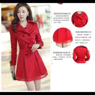 預購1022💝韓版修身雙排扣中翻领蕾絲外套