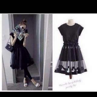 黑色透膚感洋裝