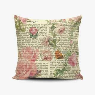 Shabby Chic Newspaper Pillow Cushion Bantal Cetak