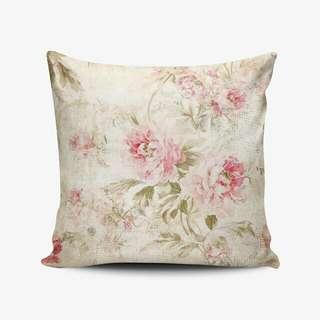 Vintage Rose Shabby Chic Throw Pillow Cushion Cover - Bantal Custom Nama - Kado Wedding Souvenir