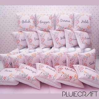 Bantal Custom Nama - Shabby Chic Throw Pillow Cushion Cover - Kado Wedding Souvenir - Bisa Ganti Text