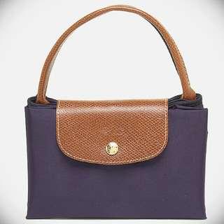 降價特惠 全新正品 Longchamp Le Pliage 摺疊水餃包 短柄M號深紫