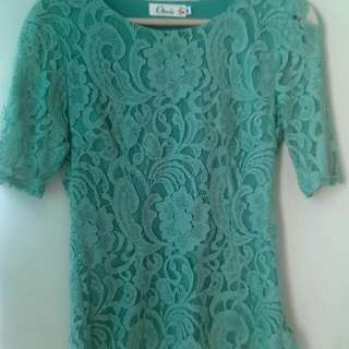 Preloved Ohlova Green Lace Top